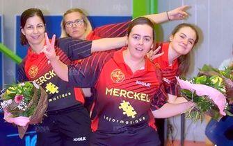 Elles peuvent faire le « V » de la victoire. Les féminines du club de tennis de table de Zorn TT retrouvent la Nationale 2. PHOTOs DNA