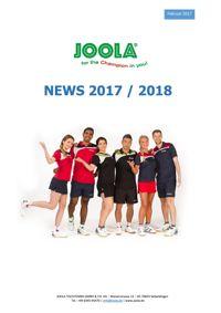 Nouveautés JOOLA saison 2017-2018