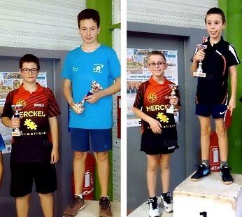 Photo de gauche : Thomas Vautier, 2e chez les minimes (à gauche) • Photo de droite : Noa Lutz, 2e chez les poussins (à gauche). PHOTOs DNA