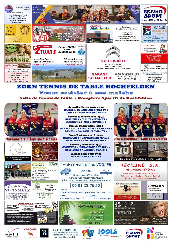 L'affiche de Zorn TT Hochfelden 2017-2018 2ème phase