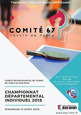 Affiche championnats départementaux du CD67TT 2018