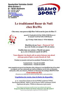 Traditionnel Bazar de Noël 2019 chez BraWo