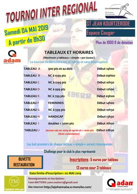 Tournoi Inter Régional de St Jean Kourtzerode