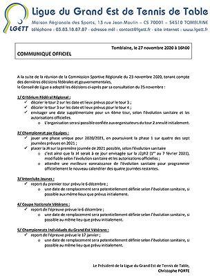 LGETT - Communiqué officiel - 27 novembre 2020
