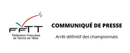 FFTT - Arrêt définitif des championnats