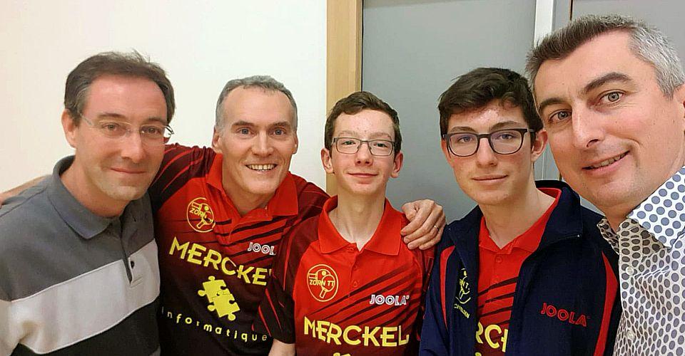 Équipe 4 AGR avec Christophe, Clément et Nathan, et les papas Pierrot et Jérôme