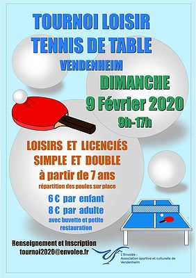 Tournoi Loisirs de Tennis de Table de Vendenheim 2020