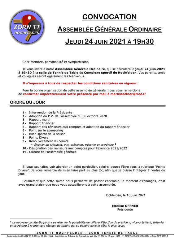 Zorn TT Hochfelden Convocation Assemblée Générale Ordinaire 2021